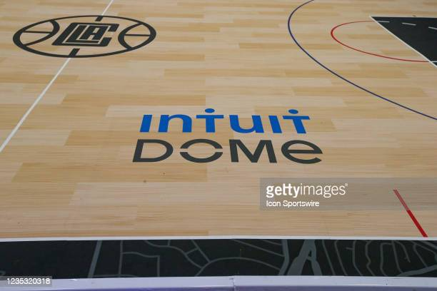 General view of of the mini court during the Los Angeles Clippers Ground breaking Ceremony on September 17 at the Intuit Dome site in Inglewood, CA.