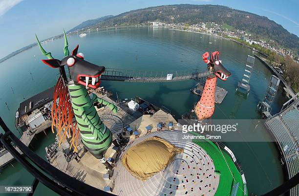 General view of of the 'Seebuehne' during the roofing ceremony on April 24, 2013 in Bregenz, Austria. The premiere of the opera on the lake...