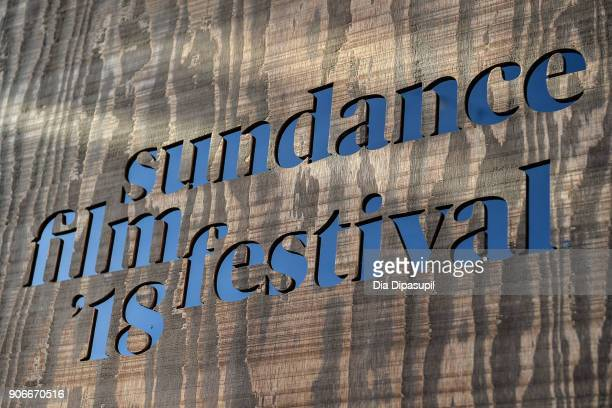A general view of official signage around town as Park City prepares for the 2018 Sundance Film Festival on January 17 2018 in Park City Utah