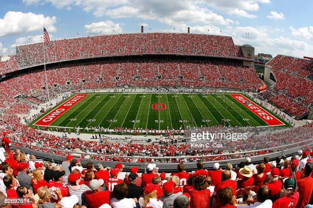 A general view of Ohio Stadium during the game between the Ohio State Buckeyes and the Ohio Bobcats on September 6 2008 in Columbus Ohio