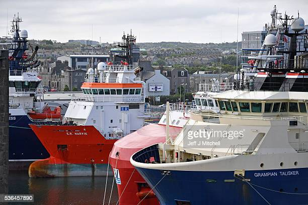 A general view of oil support vessels in Aberdeen Harbour on June 1 2016 in Aberdeen Scotland A recent poll showed that Aberdeen is one of the most...