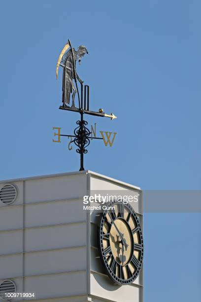 A general view of Old Father Time the Lords' weather vane during the Vitality Blast T20 match between Middlesex and Sussex Sharks at Lords Cricket...