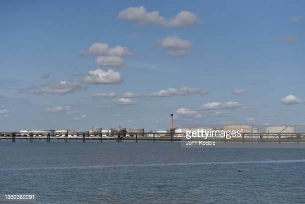 General view of old oil storage tanks that used to belong to the Coryton Oil refinery which ceased production in 2012 on the river Thames estuary on...