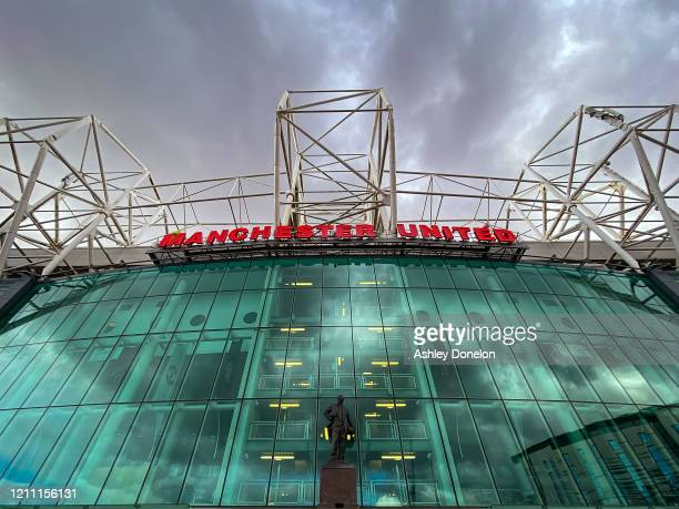 General view of Old Trafford ahead of the Premier League match between Manchester United and Manchester City at Old Trafford on March 08, 2020 in...