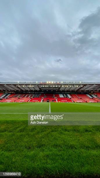 General view of Old Trafford ahead of the Premier League match between Manchester United and Southampton FC at Old Trafford on July 13, 2020 in...