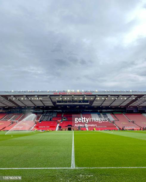 General view of Old Trafford ahead of the Premier League match between Manchester United and West Ham United at Old Trafford on July 22, 2020 in...