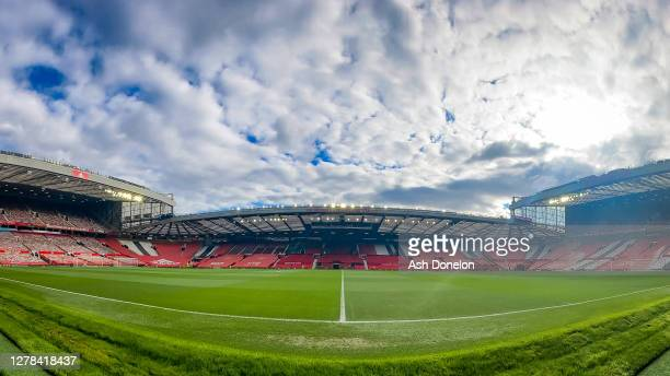 General view of Old Trafford ahead of the Premier League match between Manchester United and Tottenham Hotspur at Old Trafford on October 04, 2020 in...