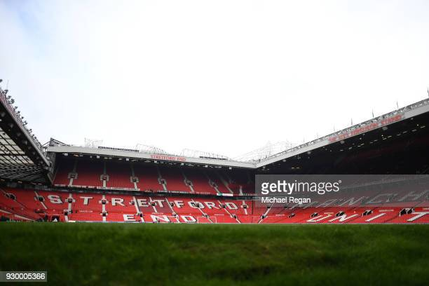 A general view of Old Trafford ahead of the Premier League match between Manchester United and Liverpool at Old Trafford on March 10 2018 in...