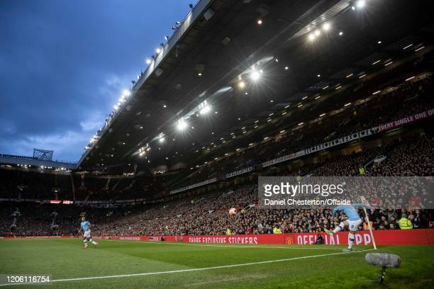 General view of Old Trafford as Ilkay Gundogan of Manchester City takes a corner during the Premier League match between Manchester United and...