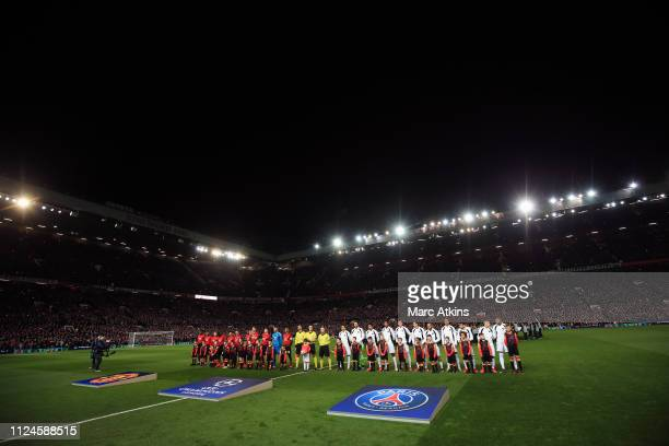 A general view of Old Trafford as the teams line up during the UEFA Champions League Round of 16 First Leg match between Manchester United and Paris...
