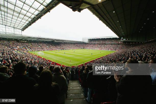 General view of Old Trafford during the Barclays Premiership match between Manchester United and Arsenal at Old Trafford on October 24 2004 in...
