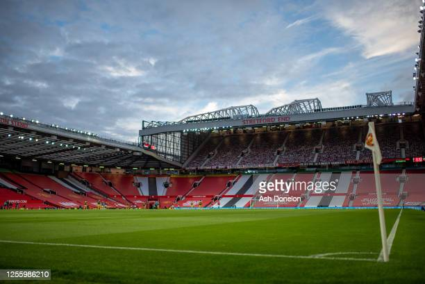 General view of Old Trafford during the Premier League match between Manchester United and Southampton FC at Old Trafford on July 13, 2020 in...