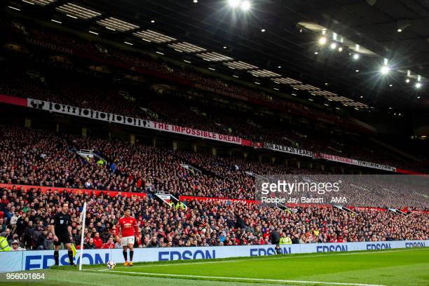 A general view of Old Trafford home stadium of Manchester United as Alexis Sanchez of Manchester United takes a corner during the Premier League...