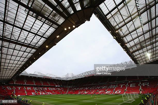 A general view of Old Trafford is seen prior to the Barclays Premier League match between Manchester United and Swansea City at Old Trafford on...