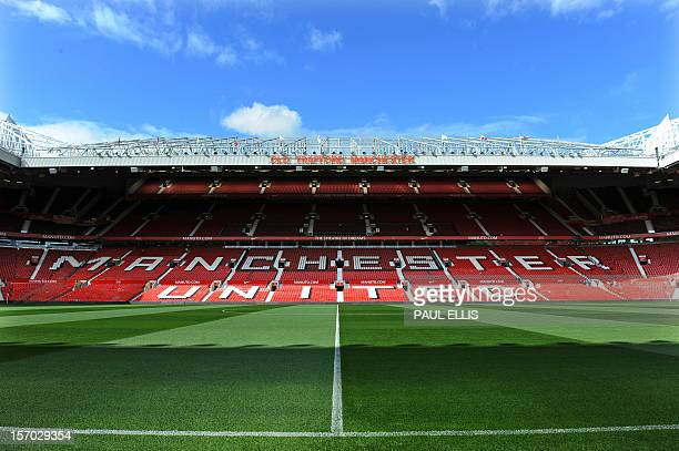 General view of Old Trafford Stadium before the English Premier League football match between Manchester United and Arsenal at Old Trafford in...