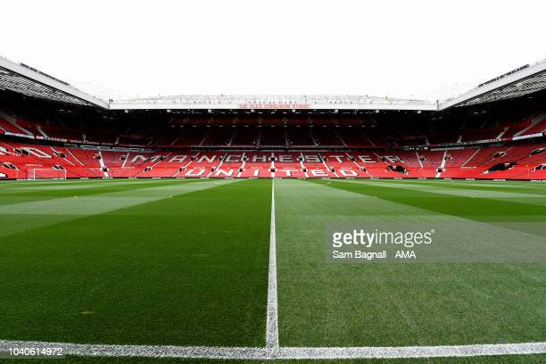 A general view of Old Trafford the home stadium of Manchester United prior to the Premier League match between Manchester United and Wolverhampton...
