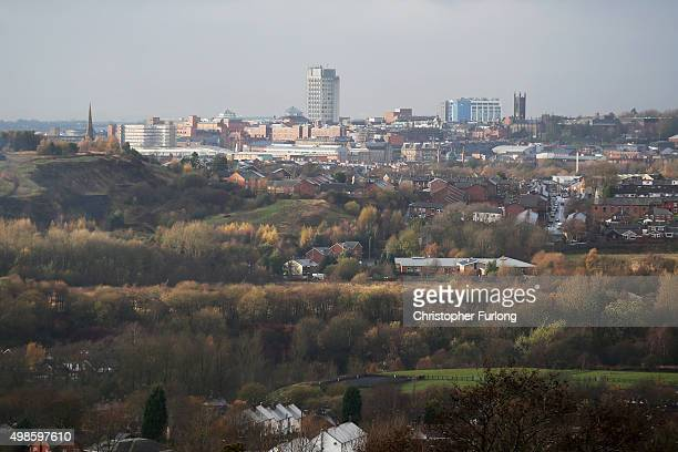 A general view of Oldham as voters prepare to go to the polls in the Oldham West and Royton byelection November 24 2015 in Oldham England Oldham...
