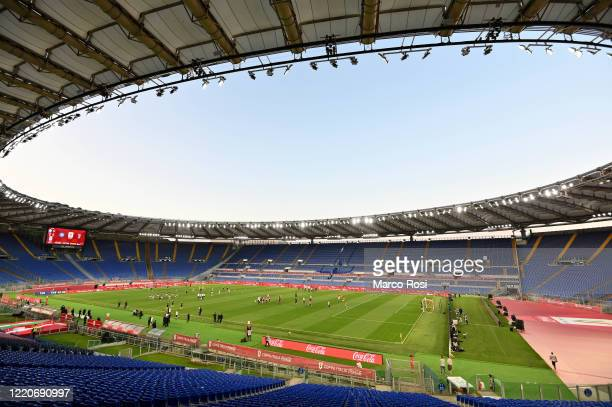 General view of Olimpico Stadium before the Coppa Italia Final match between Juventus and SSC Napoli at Olimpico Stadium on June 17, 2020 in Rome,...