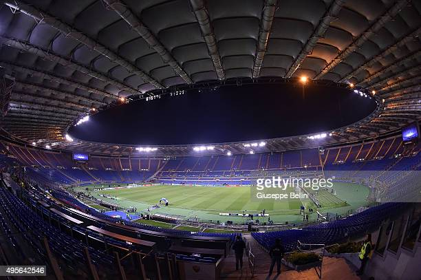 General view of Olimpico Stadium before the UEFA Champions League Group E match between AS Roma and Bayer 04 Leverkusen at Olimpico Stadium on...