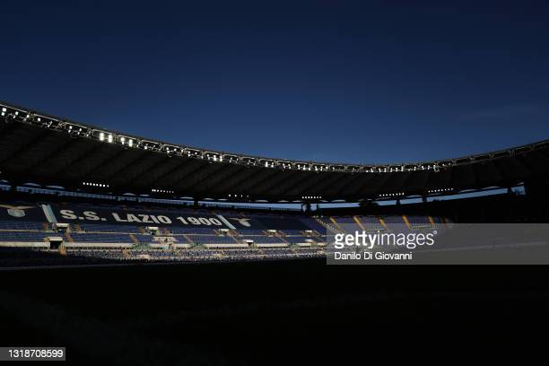 General view of Olimpico Stadium during the Serie A match between SS Lazio and Torino FC at Stadio Olimpico on May 18, 2021 in Rome, Italy.