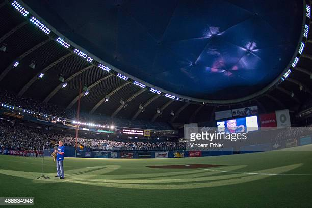 A general view of Olympic Stadium as Russell Martin Sr father of Toronto Blue Jays catcher Russell Martin performs the National Anthems on his...