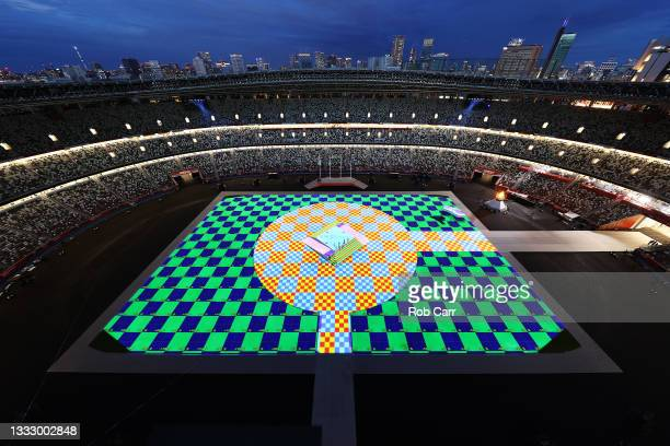 General view of Olympic Stadium before the Closing Ceremony of the Tokyo 2020 Olympic Games at Olympic Stadium on August 08, 2021 in Tokyo, Japan.