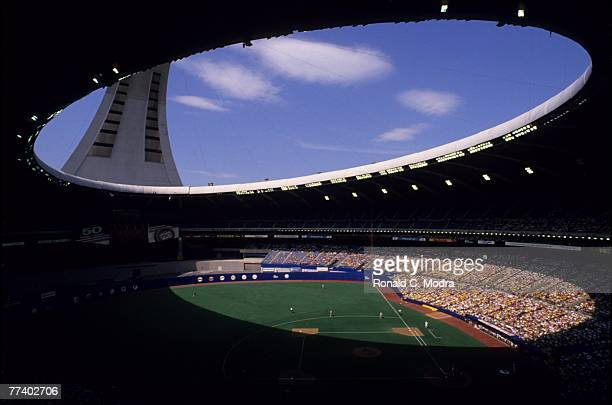 General view of Olympic Stadium during a Montreal Expos game in September 1989 in Montreal Quebec Canada