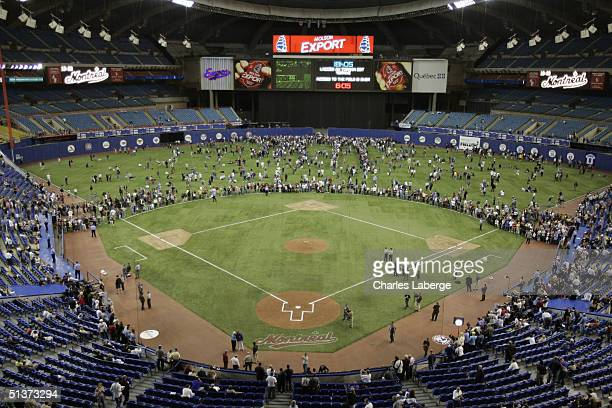 A general view of Olympic Stadium prior to the Montreal Expos' final home game against the Florida Marlins September 29 2004 in Montreal Canada The...