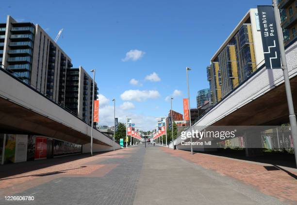 General view of Olympic Way outside Wembley stadium on what should have been FA Cup Final day on May 23 2020 in London England The British government...