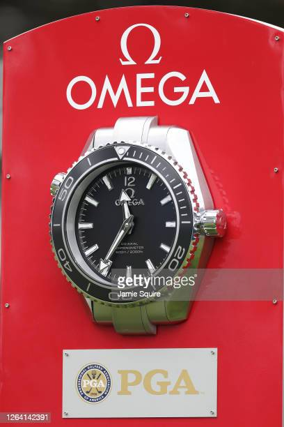 General view of Omega signage during a practice round prior to the 2020 PGA Championship at TPC Harding Park on August 05, 2020 in San Francisco,...