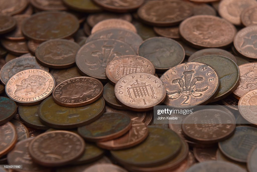 UK one and Two Pence Copper Coins : Foto jornalística