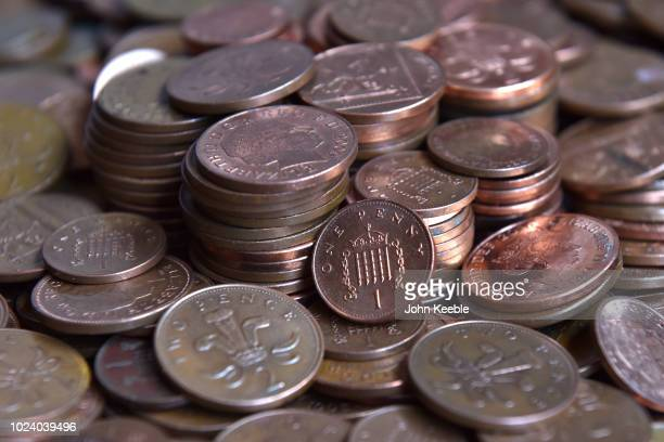 A general view of one and two pence copper coins on August 23 2018 in London England A Bank of England report has suggested that a withdrawal of...