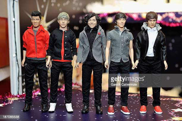 A general view of One Direction dolls at the Dream Toys 2013 press day at St Mary's on November 6 2013 in London England