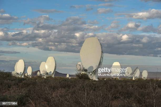 A general view of one of a 64dish radio telescope system is seen during an official unveiling ceremony on July 13 2018 in Carnarvon South Africa on...