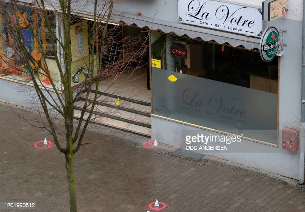 General view of one of the bar target in a shooting at the Heumarkt in the centre of Hanau near Frankfurt am Main western Germany on February 20...