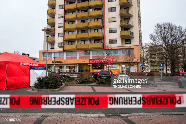 General view of one of the bar target in a shooting in Kesselstadt near Frankfurt western Germany on February 20 2020 The suspect in two shootings in...