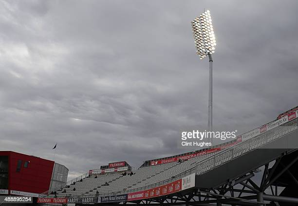 A general view of one of the floodlights at the Emirates Old Trafford during day four of the LV County Championship Division Two match between...