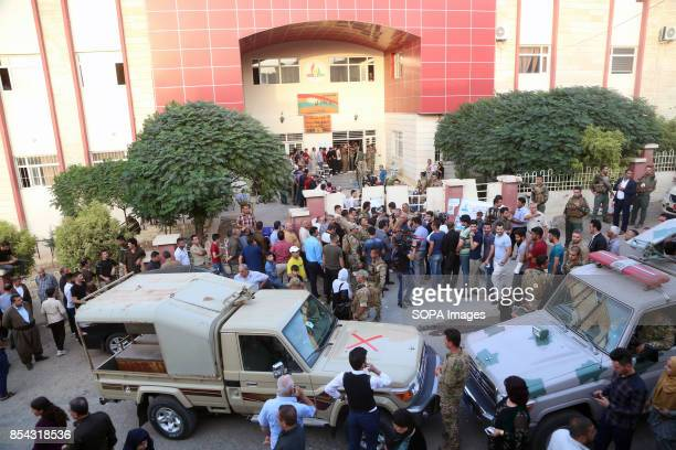 A general view of one of the main polls stations in Sulymanieh September 25 2017 is a historic day for Kurdish people around the world as many...