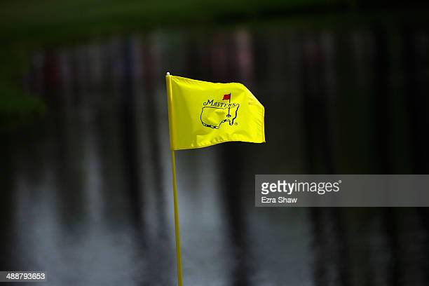 A general view of one of the Masters flags prior to the start of the 2014 Masters at Augusta National Golf Club on April 8 2014 in Augusta Georgia