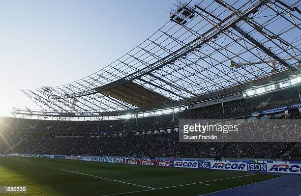 General view of one of the new stands at the Olympic Stadium during the German Bundesliga match between Hertha Berlin and Energie Cottbus held on...