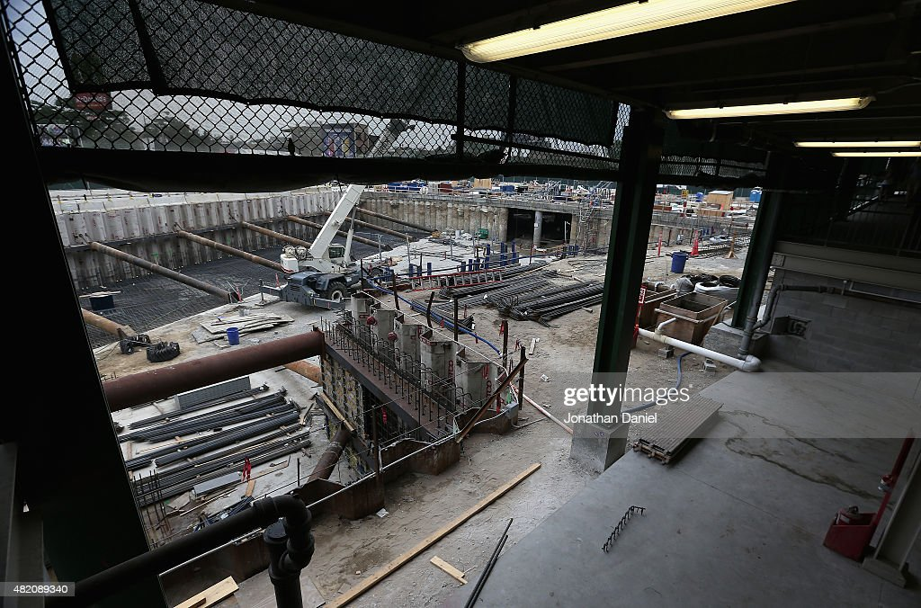 A general view of on-going construction outside of at Wrigley Field as the Chicago Cubs take on the Philadelphia Phillies on July 26, 2015 in Chicago, Illinois.