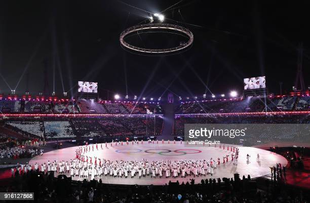 General View of Opening Ceremony as Olympic rings are displayed during the Opening Ceremony of the PyeongChang 2018 Winter Olympic Games at...