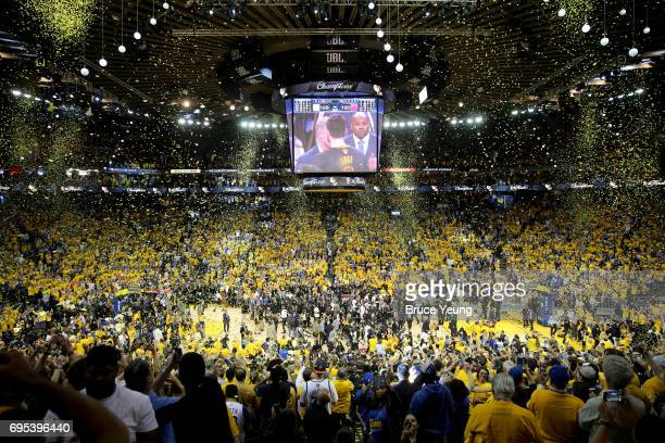 A general view of ORACLE Arena after the Golden State Warriors beat the Cleveland Cavaliers in Game Five of the 2017 NBA Finals on June 12 2017 at...