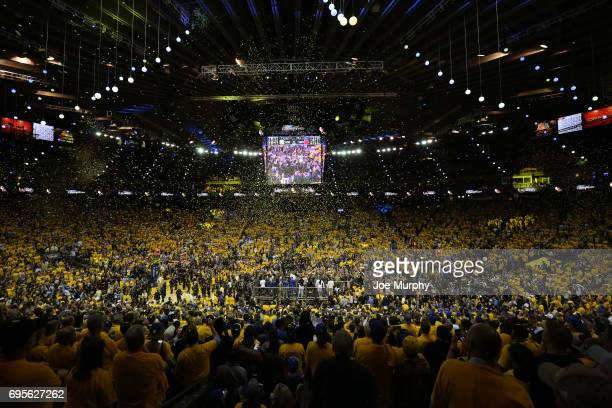 A general view of Oracle Arena after the Golden State Warriors win Game Five of the 2017 NBA Finals against the Cleveland Cavaliers on June 12 201 in...