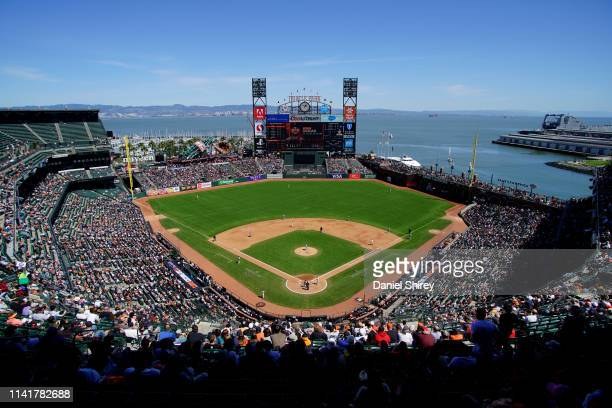 A general view of Oracle Park during the game between the San Francisco Giants and the San Diego Padres on April 10 2019 in San Francisco California