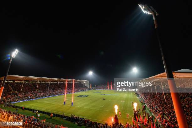 General view of Orangetheory Stadium as captain Samuel Whitelock of the Crusaders leads his team onto the field during the Super Rugby Final between...