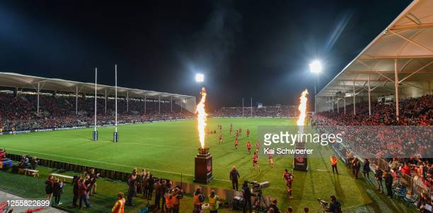 General view of Orangetheory Stadium as the Crusaders run out prior to the round 5 Super Rugby Aotearoa match between the Crusaders and the Blues at...
