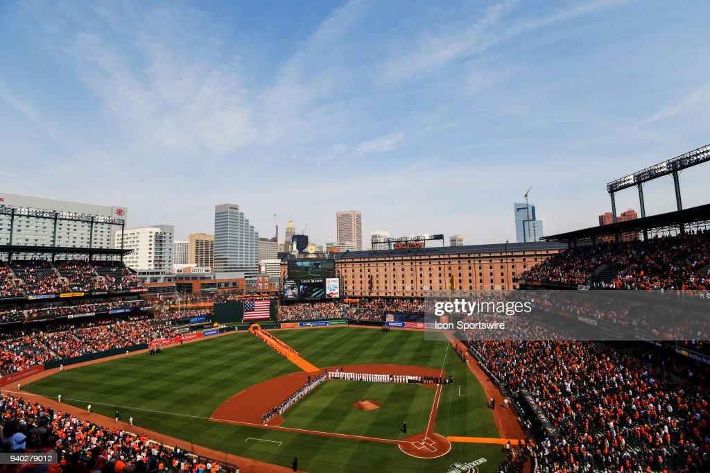 A general view of Orioles Park at Camden Yards in Baltimore, MD on opening day on March 29, 2018, as the Baltimore Orioles and the Minnesota Twins are introduced. The Baltimore Orioles defeated the Minnesota Twins, 3-2 in eleven innings.