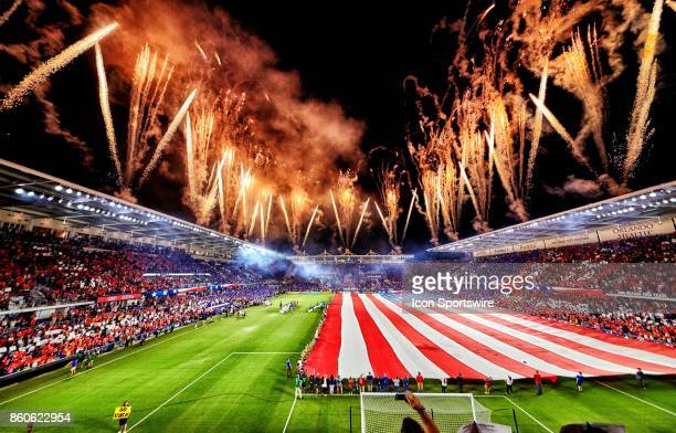A general view of Orlando City Stadium with fireworks going off during the playing of the national anthem is seen during the World Cup Qualifying...