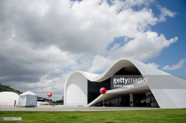 General view of Oscar Niemeyer Popular Theater in Niteroi. Niteroi is a municipality of the state of Rio de Janeiro. Rio de Janeiro is the fourth...